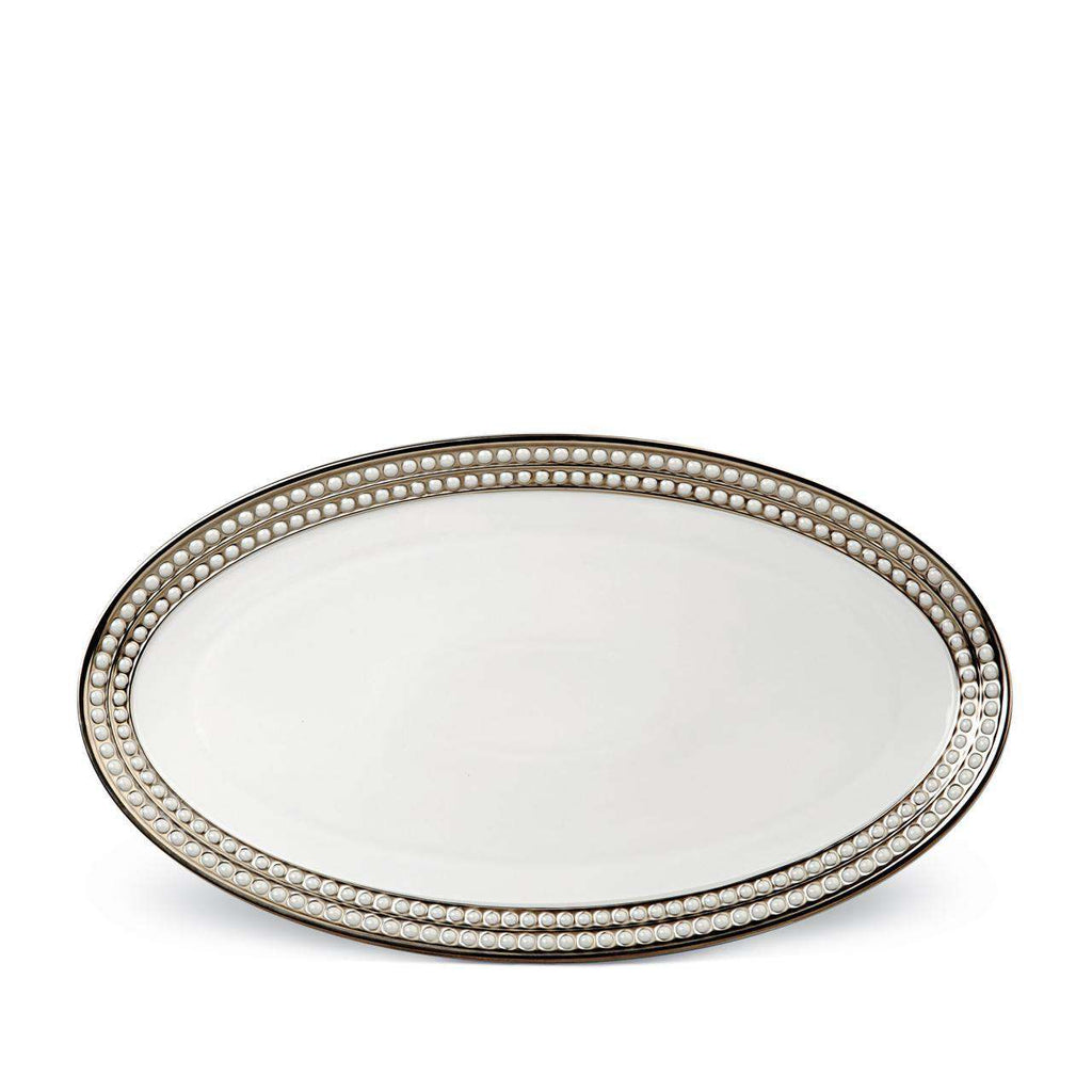 Perlée Oval Platter - Large - Platinum - TERTIUS COLLECTION