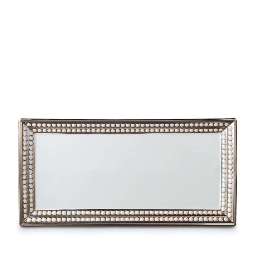 Perlée Rectangular Platter - Medium - Platinum - TERTIUS COLLECTION