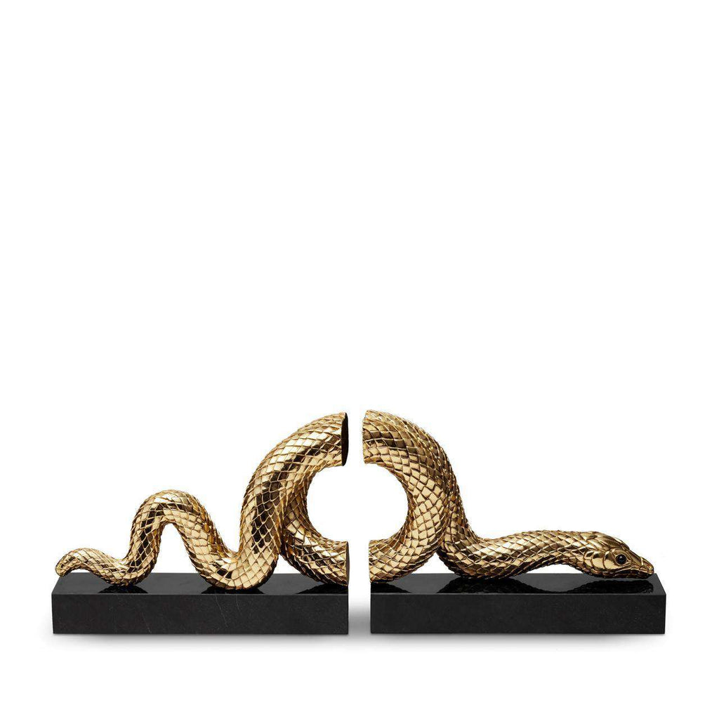 Snake Bookend Set - Gold - TERTIUS COLLECTION