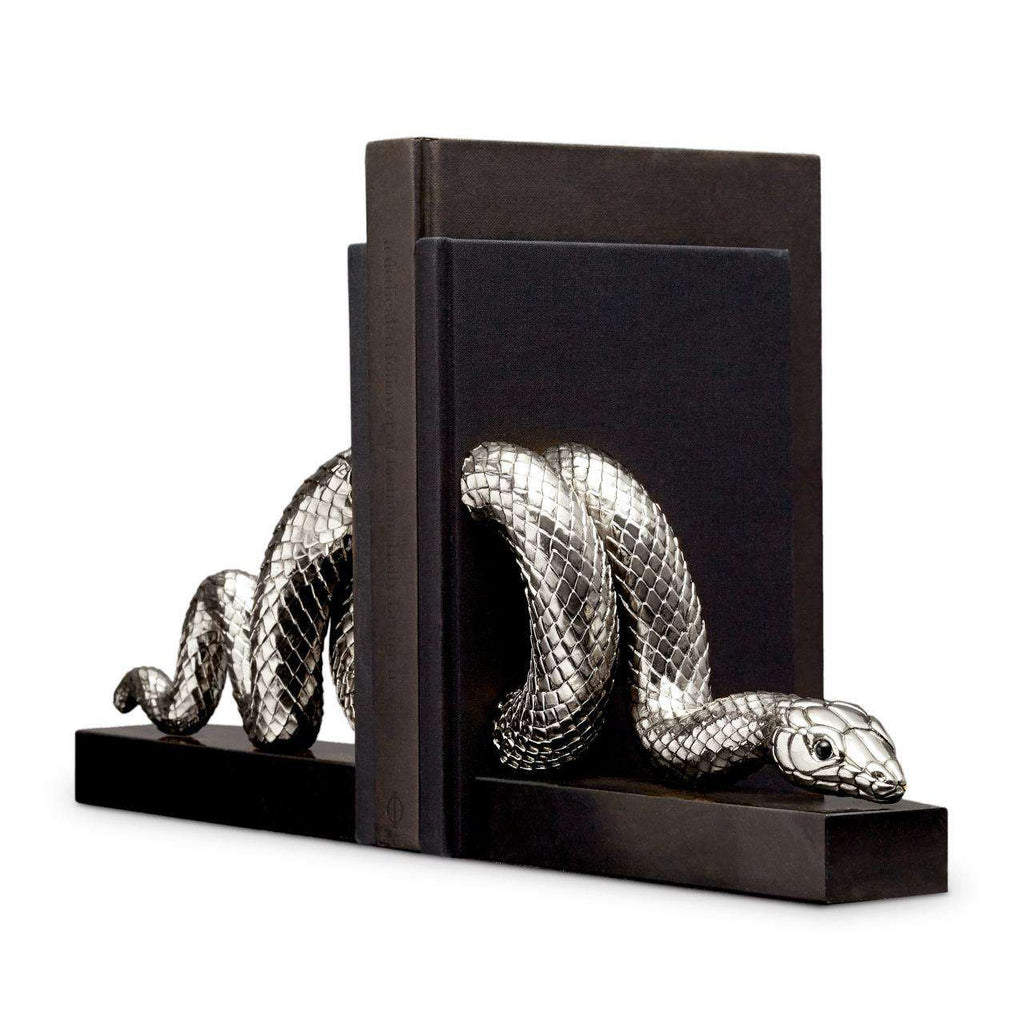Snake Bookend Set - Platinum - TERTIUS COLLECTION