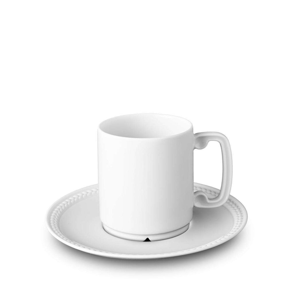 Soie Tressée Espresso Cup & Saucer - White - TERTIUS COLLECTION