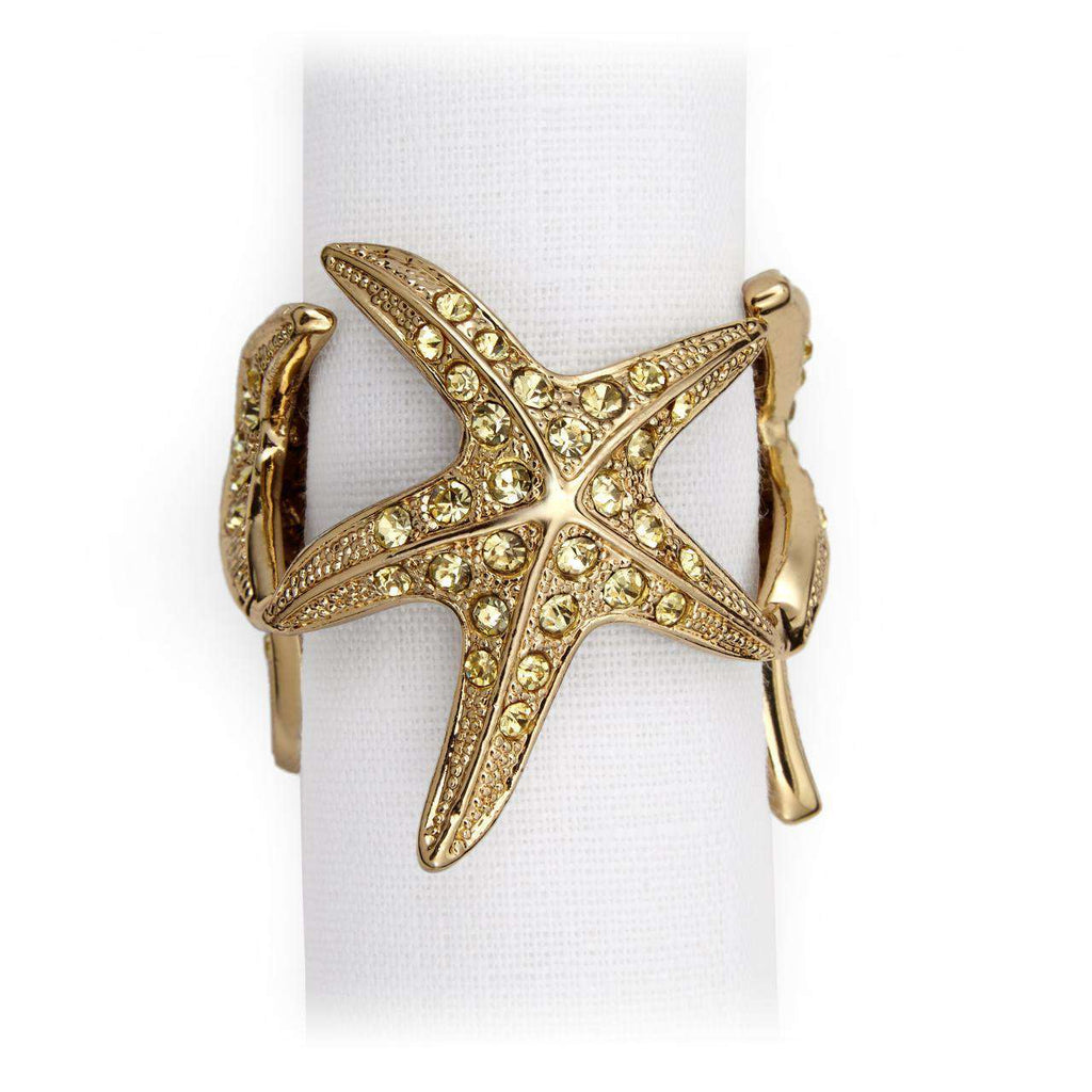 Starfish Napkin Jewels - Gold & Yellow Crystals - TERTIUS COLLECTION