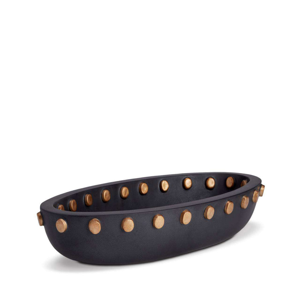 Teo Oval Serving Bowl - Large - Black & Gold - TERTIUS COLLECTION