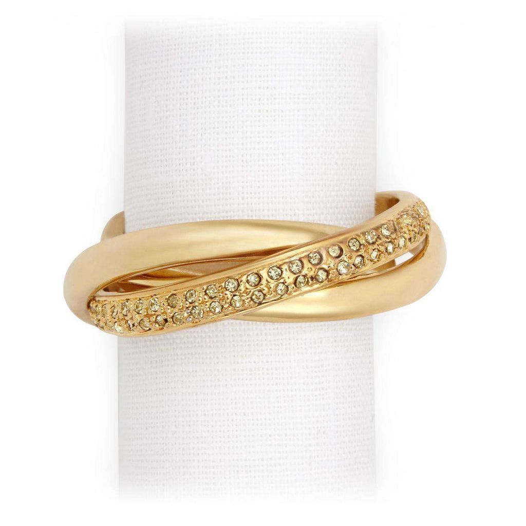 Three Ring Crystal Napkin Jewels - Gold - TERTIUS COLLECTION
