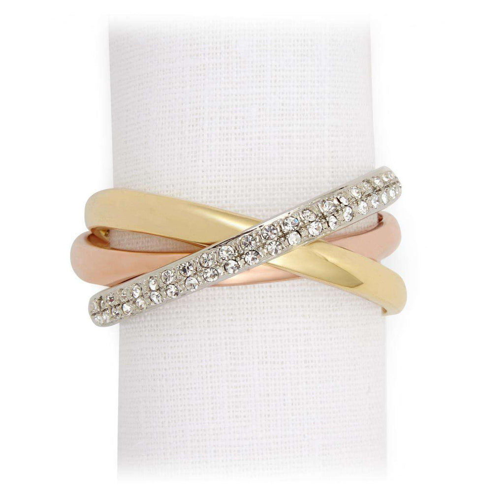 Three Ring Crystal Napkin Jewels - Tri-color - TERTIUS COLLECTION