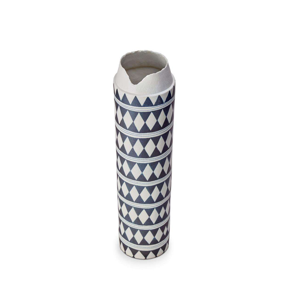 Tribal Diamond Collar Vase - Blue & White - TERTIUS COLLECTION