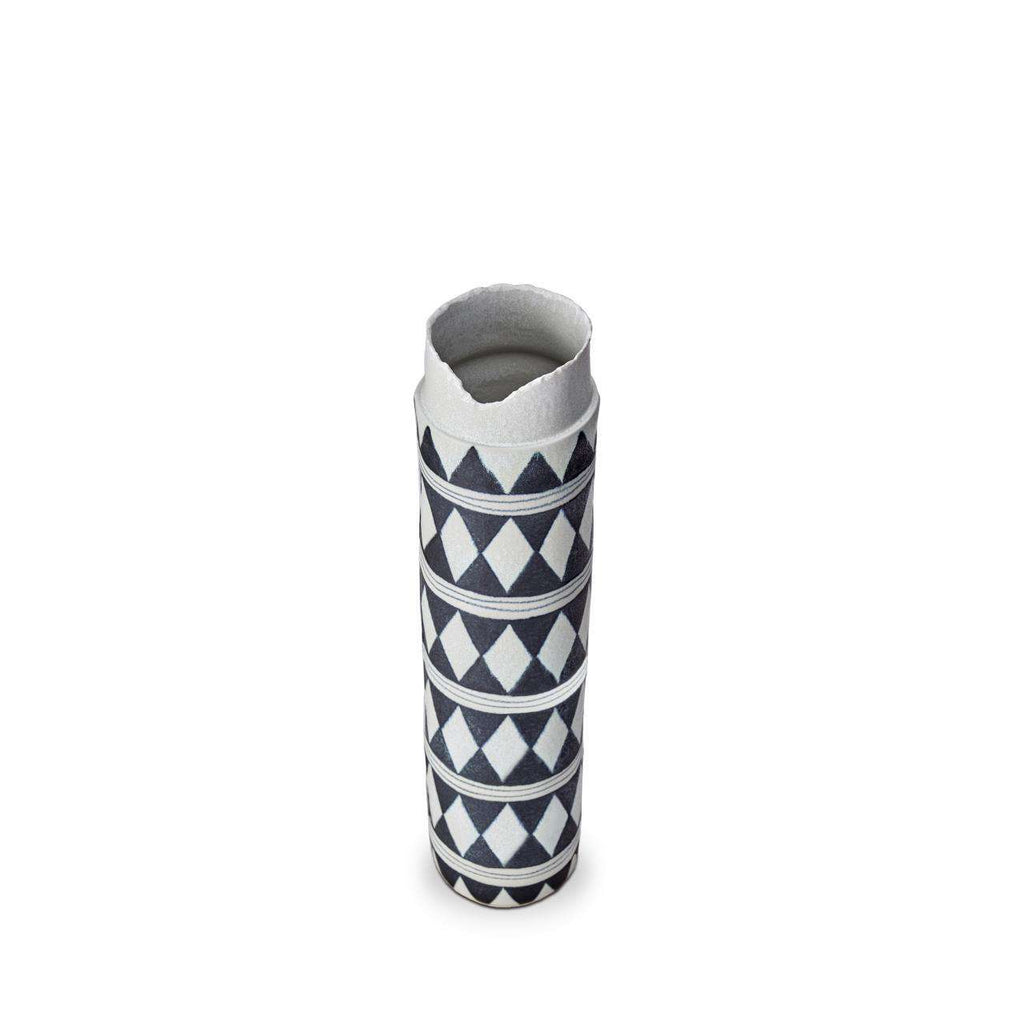 Tribal Diamond Collar Vase - Large - Blue & White - TERTIUS COLLECTION