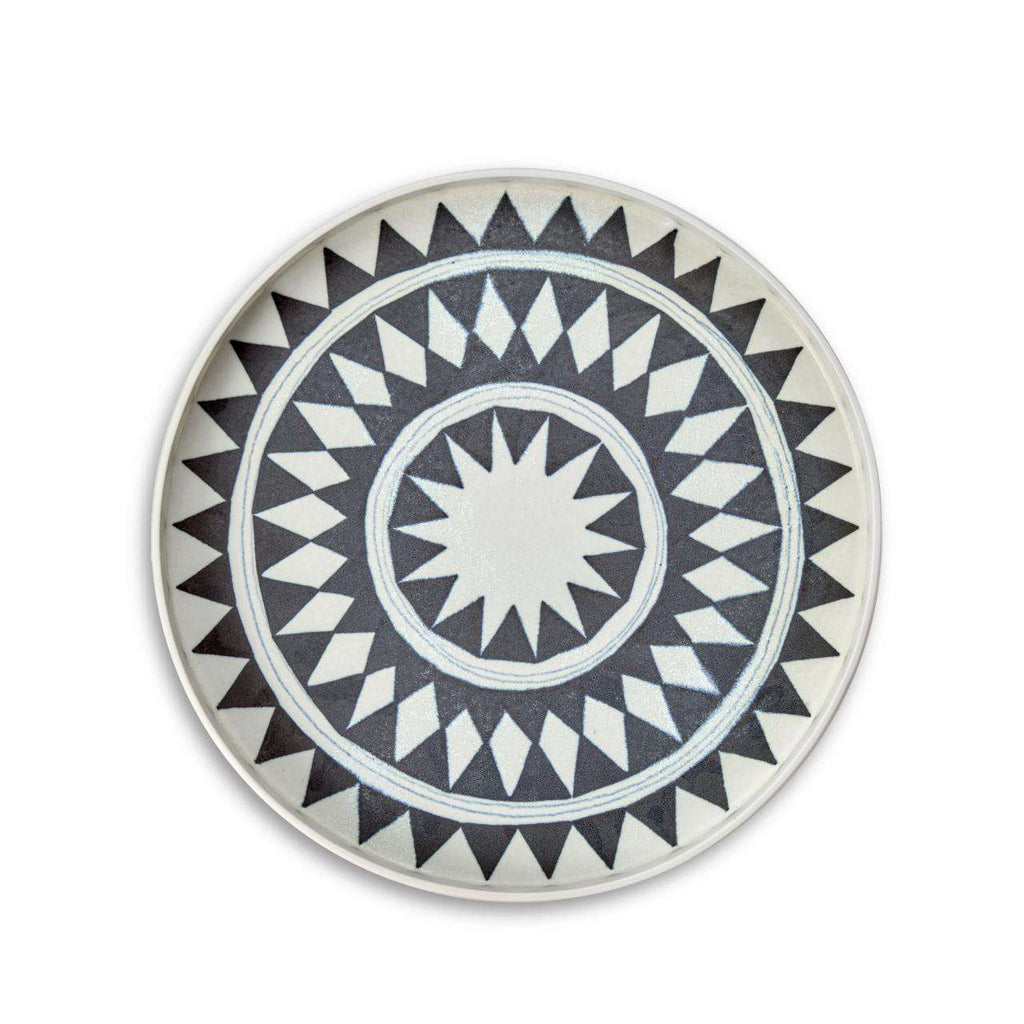 Tribal Diamond Medium Platter - Blue & White - TERTIUS COLLECTION