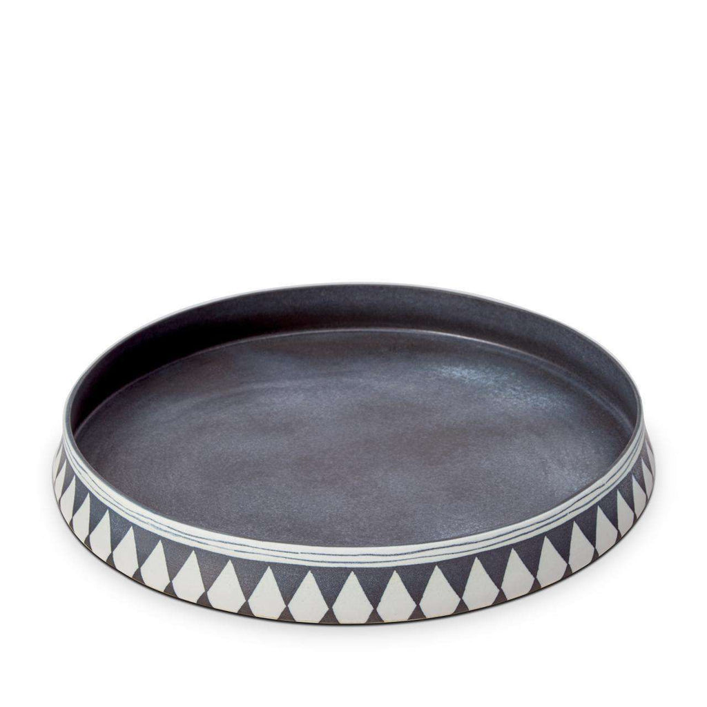 Tribal Diamond Round Platter - Blue & White - TERTIUS COLLECTION