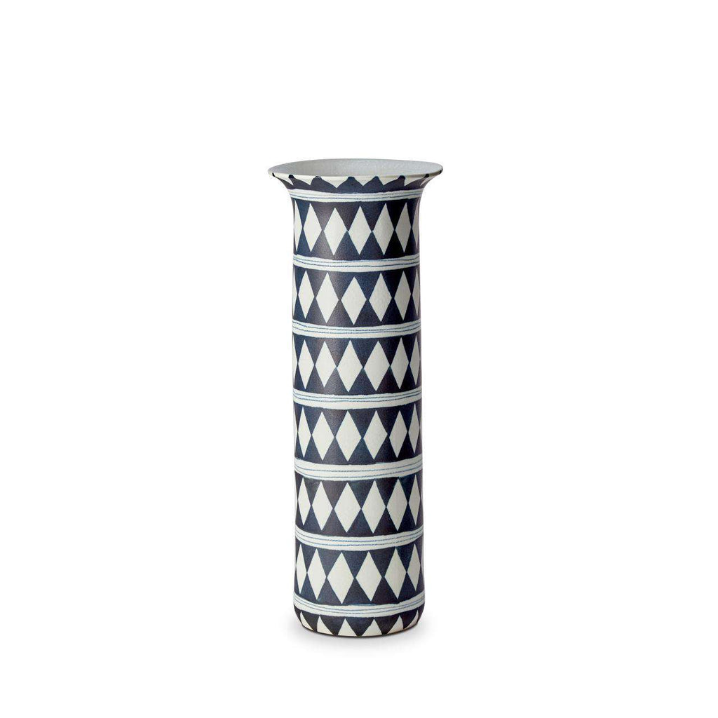 Tribal Diamond Vase - Large - Blue & White - TERTIUS COLLECTION