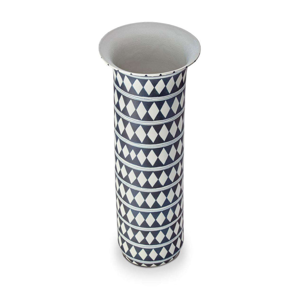 Tribal Diamond Vase - X-Large - Blue & White - TERTIUS COLLECTION