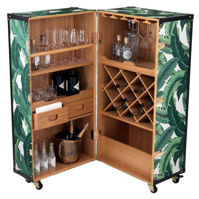 Voyage de la Vie Trunk Bar -  Mustique green Finish - TERTIUS COLLECTION