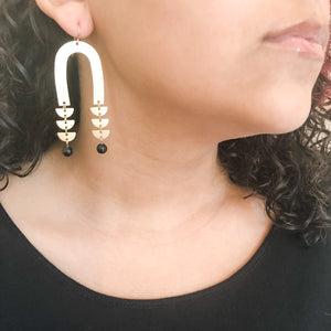 Brass Arch and Black Agate Earrings