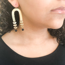 Load image into Gallery viewer, Brass Arch and Black Agate Earrings