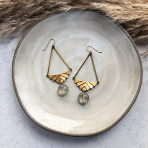 Gray Geo Drop Earrings