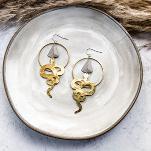 Mixed Metal Hammered Snake Earrings