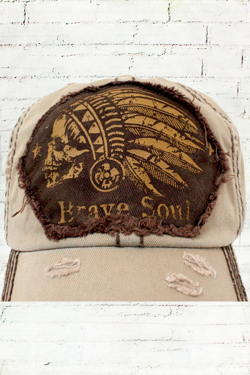 Distressed Indian Head Brave Soul Cowgirl Ball Cap, Khaki