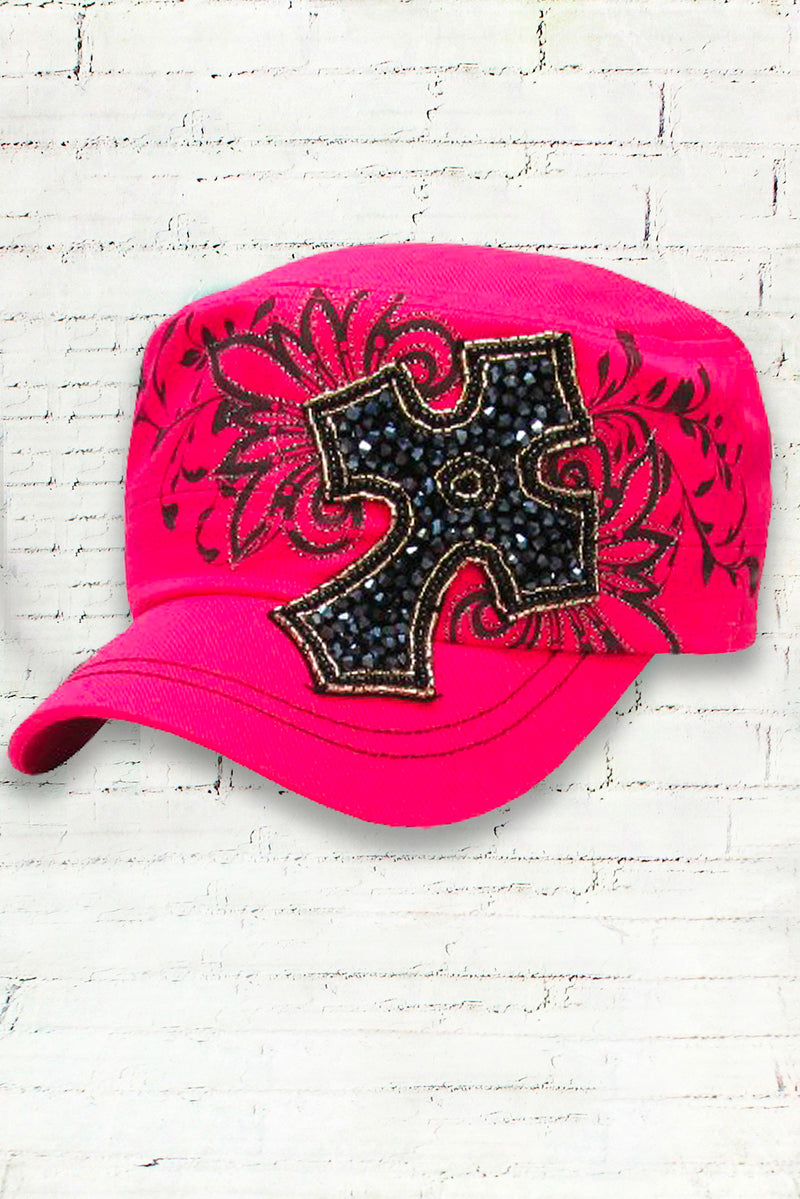 Distressed Vintage Premium Cross Cowgirl Cadet Ball Cap, Hot Pink
