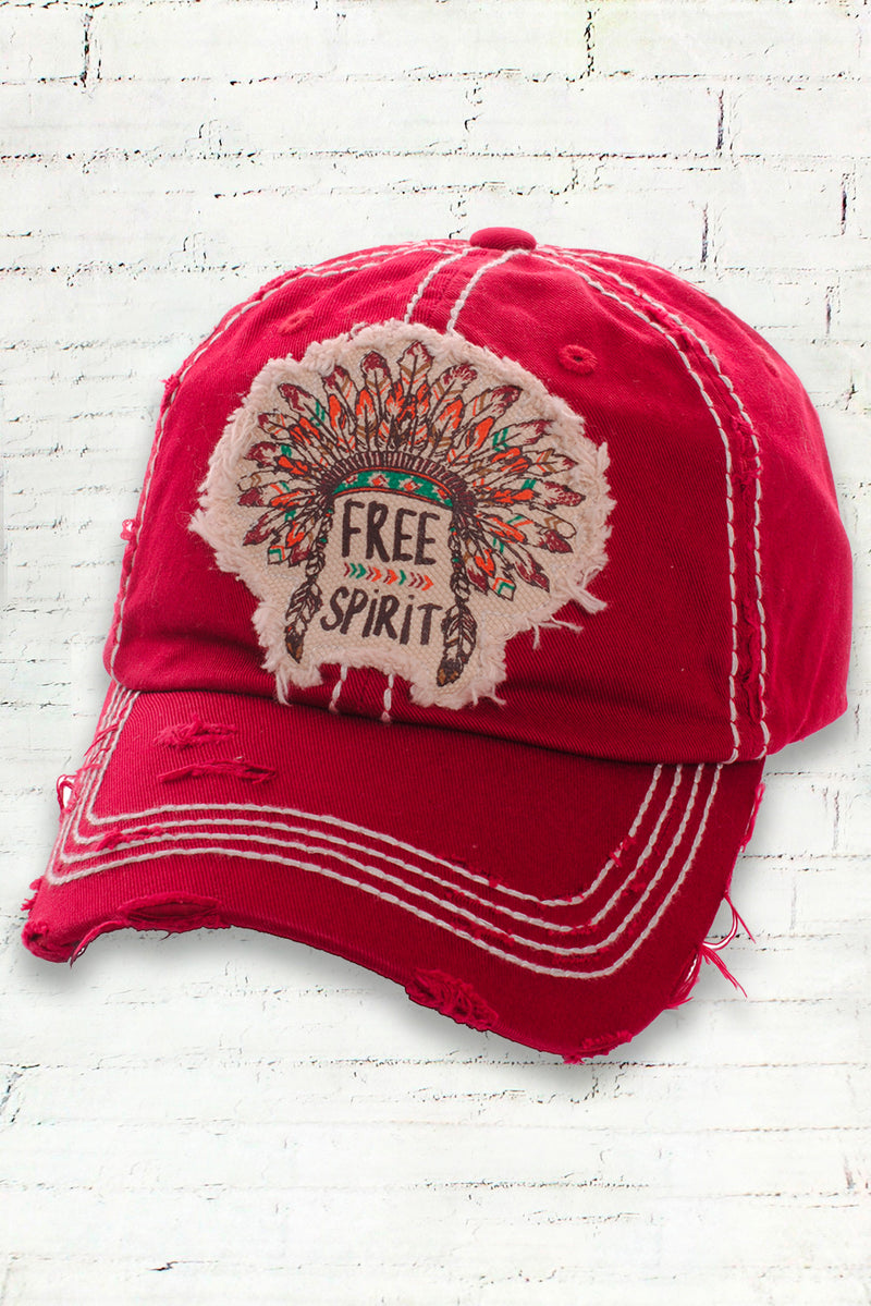 Distressed Indian Headdress Free Spirit Cowgirl Ball Cap, Red
