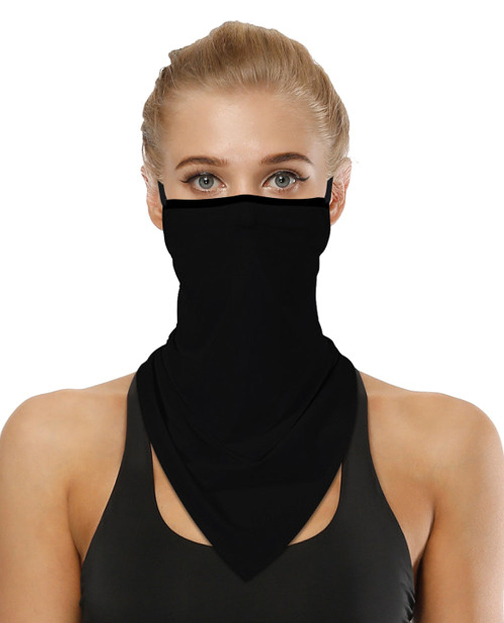 Solid Black Face Mask Bandana