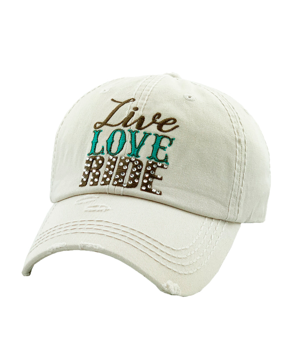 Distressed Off White Live Love Ride Cowgirl Ball Cap