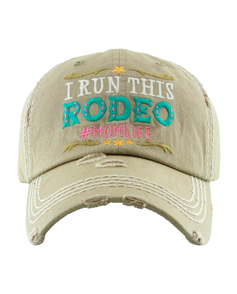 Distressed Khaki I Run This Rodeo Cowgirl Ball Cap