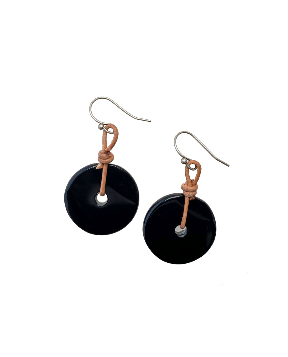 BLACK ONYX DONUT EARRING WITH LEATHER