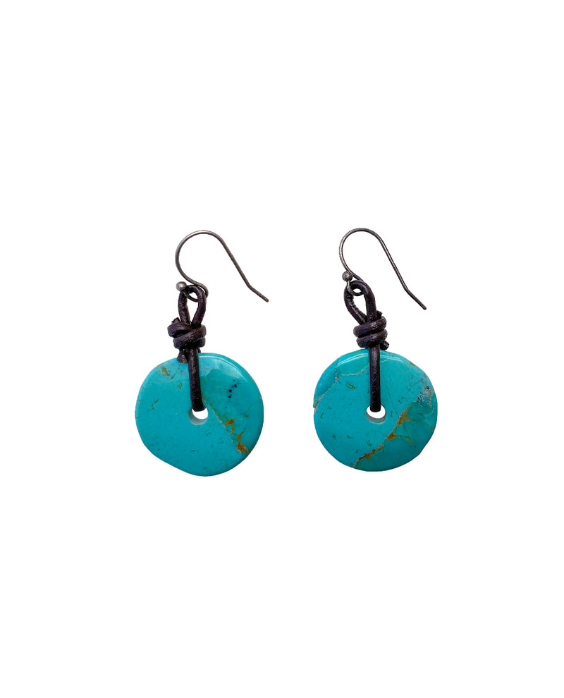 TURQUOISE DONUT EARRING WITH LEATHER