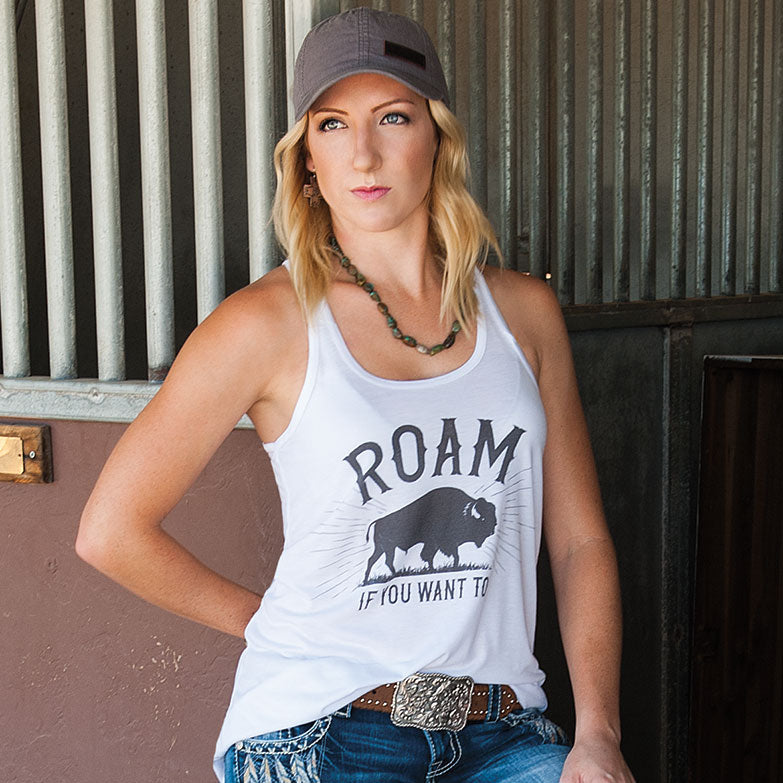 Roam If You Want to Flowy Racerback Tank