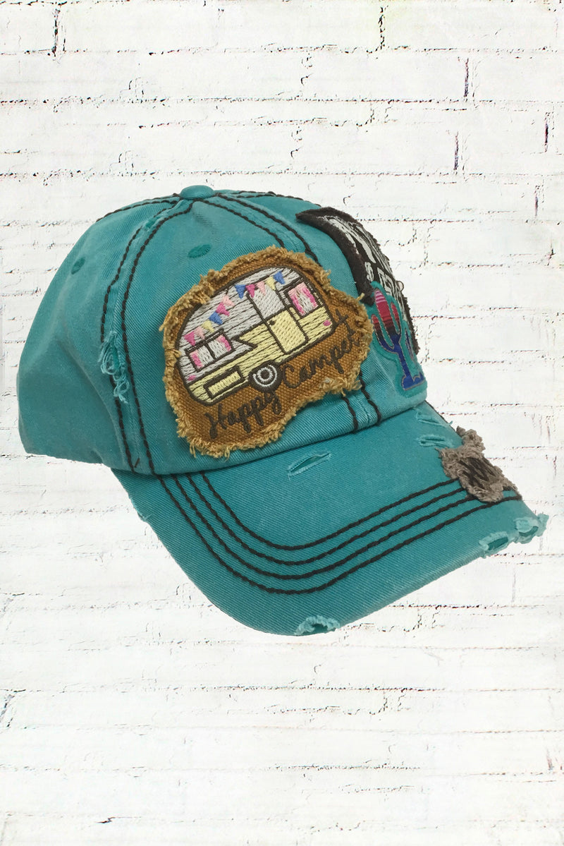 Distressed Happy Camper Turquoise Wild and Free Cowgirl Ball Cap