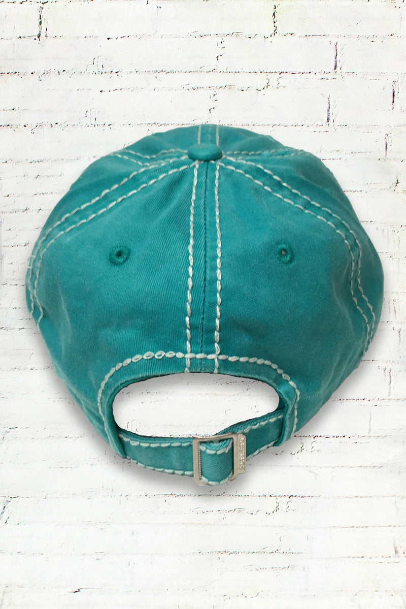 Distressed Turquoise Happy Camper Cowgirl Ball Cap
