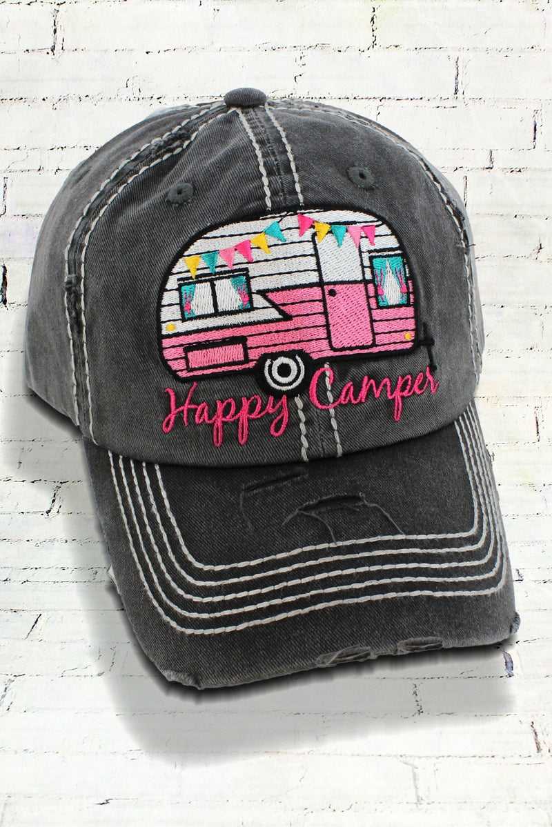 Distressed Charcoal Happy Camper Cowgirl Ball Cap