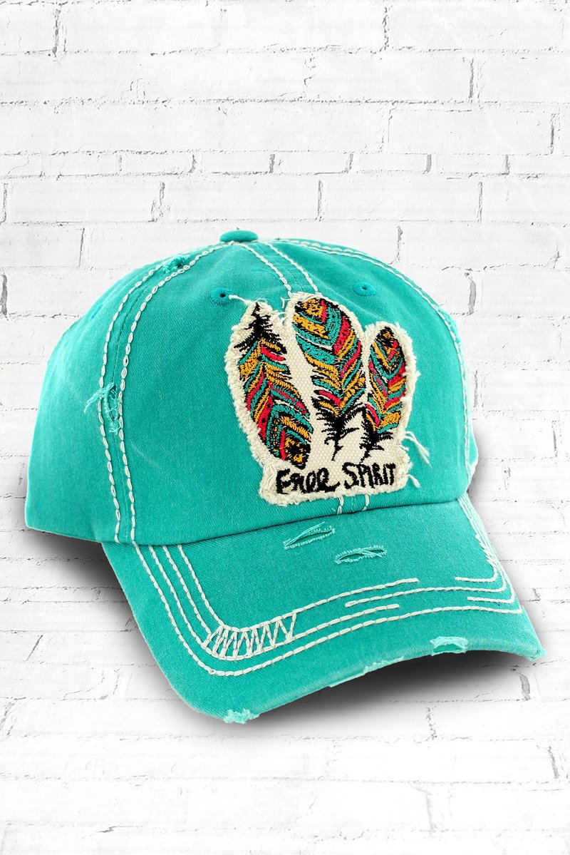 Distressed Indian Feather Free Spirit Cowgirl Ball Cap, Teal