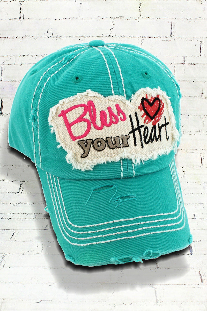 Distressed Turquoise Bless Your Heart Cowgirl Ball Cap
