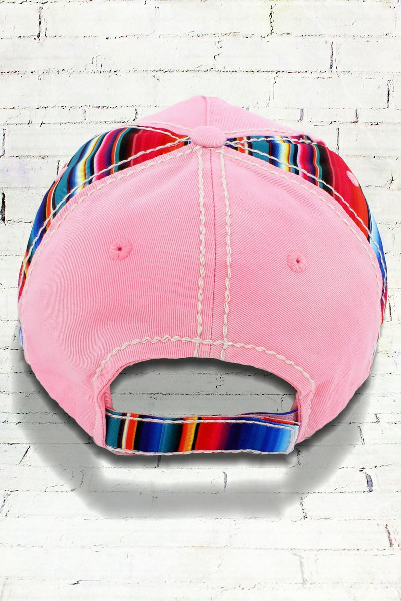 Distressed Light Pink Serape Cactus Cowgirl Ball Cap