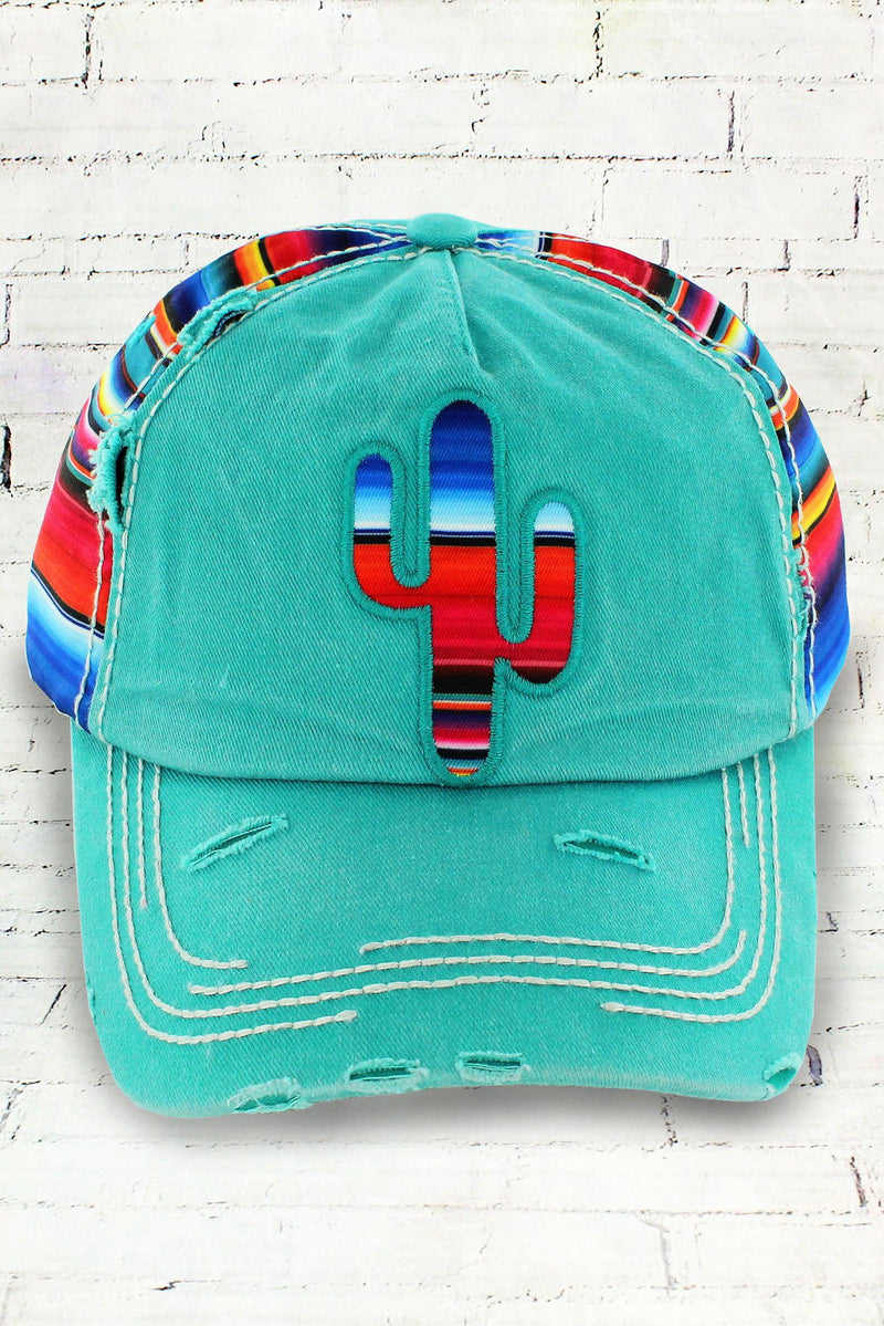 Distressed Teal Serape Cactus Cowgirl Ball Cap