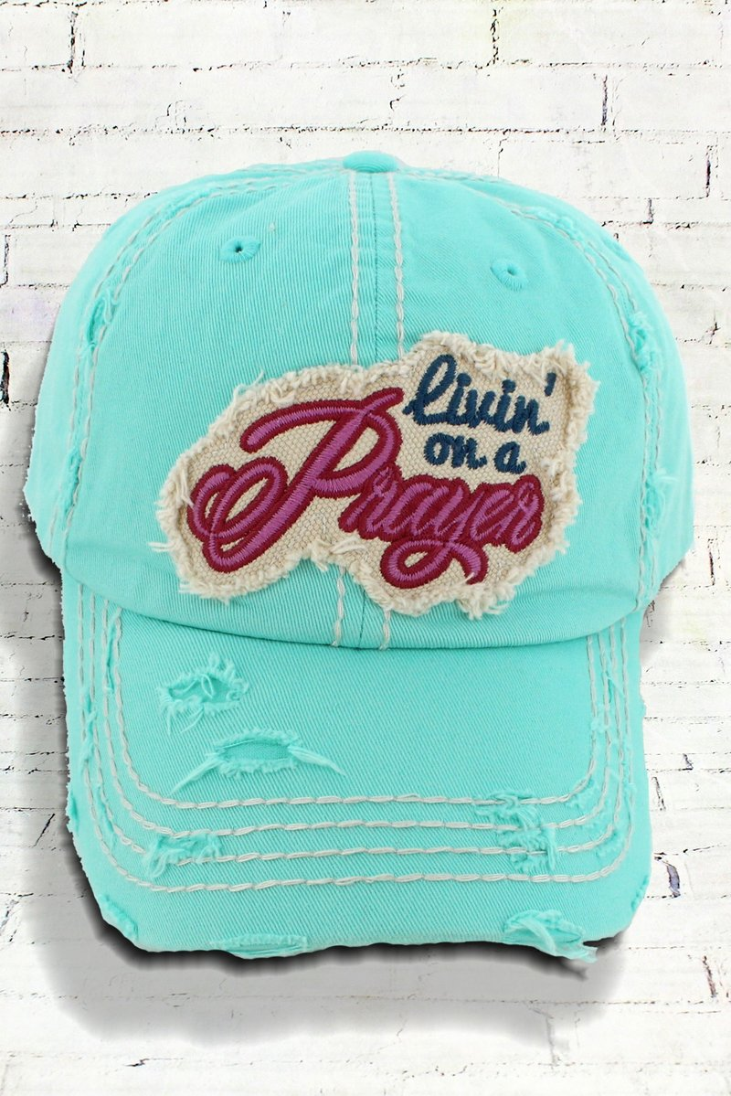 Distressed Livin' On A Prayer Cowgirl Ball Cap, Mint Green
