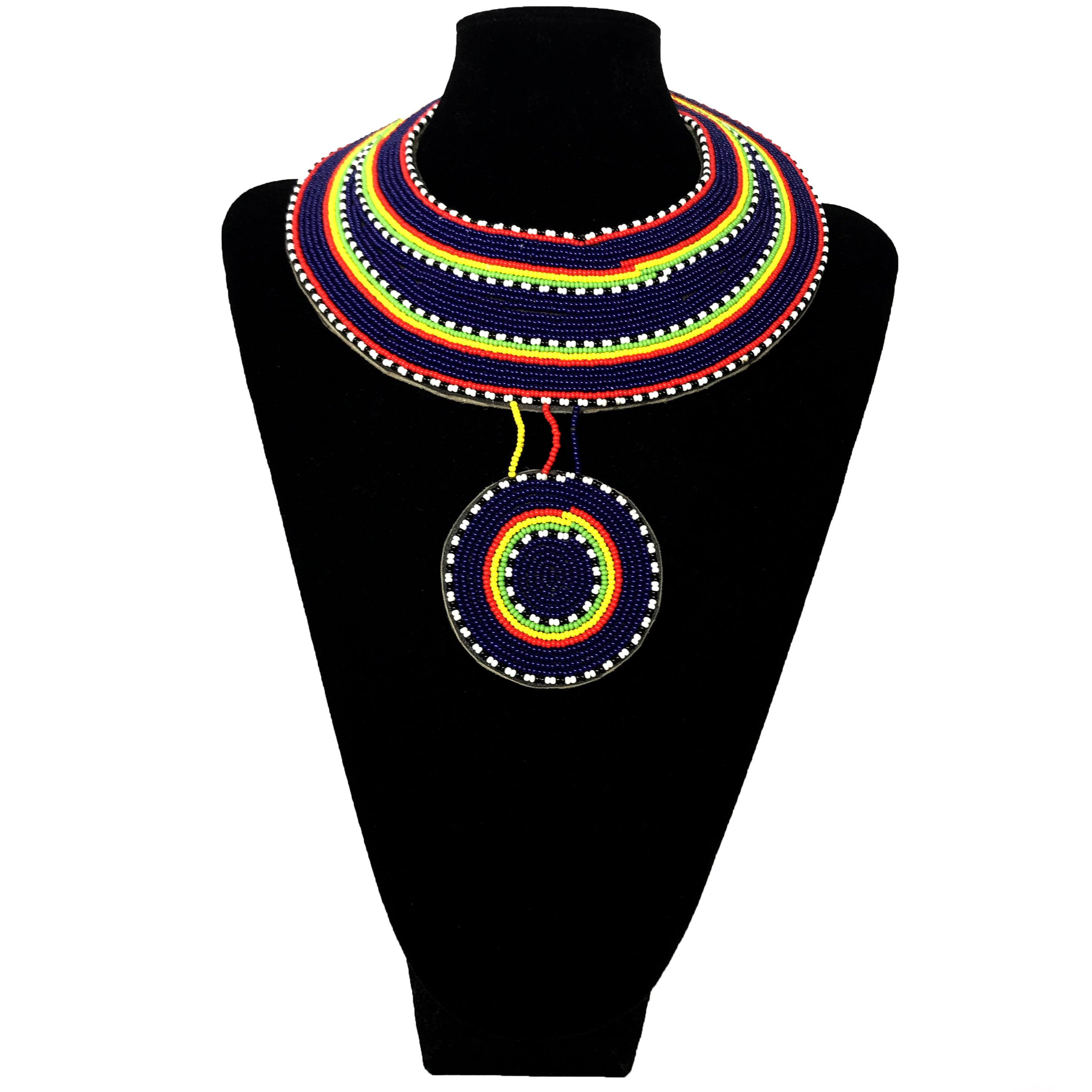 African Beaded Indigo Necklace