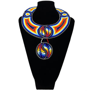 African Beaded Necklace - Blue