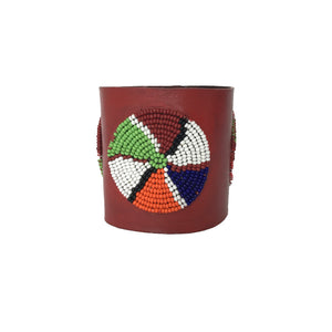African Leather Beaded Cuff - Red