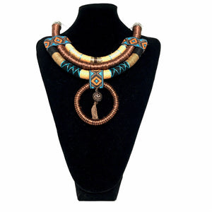 African Tribal Necklace w. Pendant - Brown