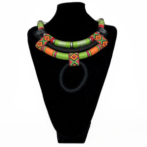 African Tribal Necklace w. Pendant - Green