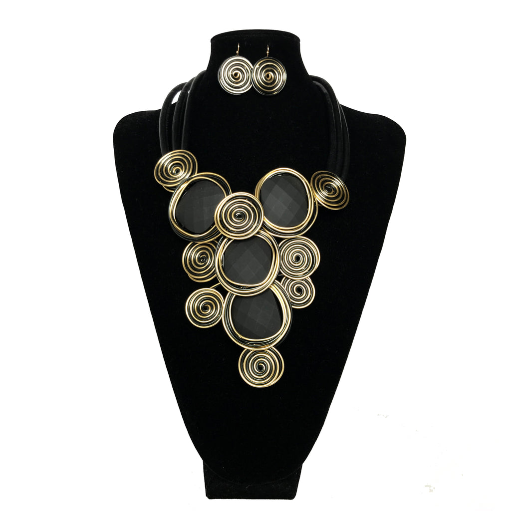 Black & Gold Coiled Necklace Set