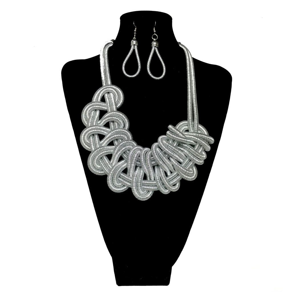 Cord Fashion Twisted Necklace Set