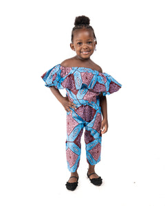 Kid's Romper - Purple & Blue