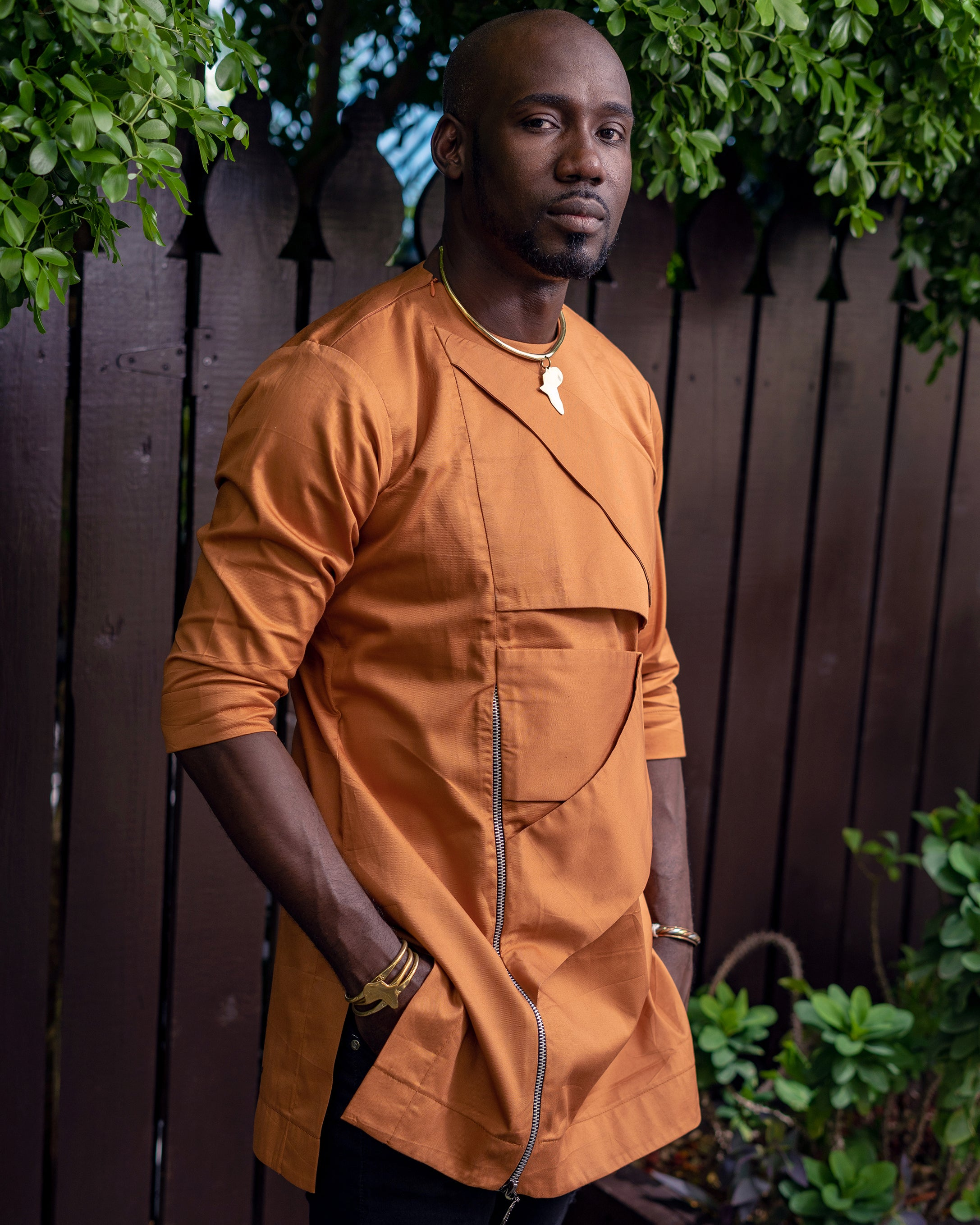 Orange shirt with wrap panel and zipper detailing