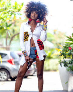 White button down dress with tribal and african print detailing, long sleeves