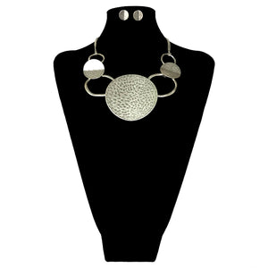 Hammered Circle Necklace Set