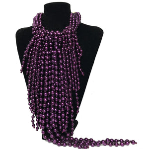 J Perl Long Fringed Purple Drop Necklace etal store