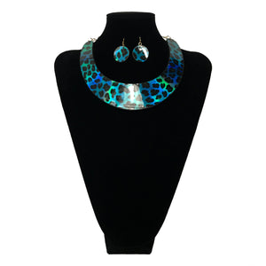 J Fashion Leopard Pattern Necklace Set - Blue